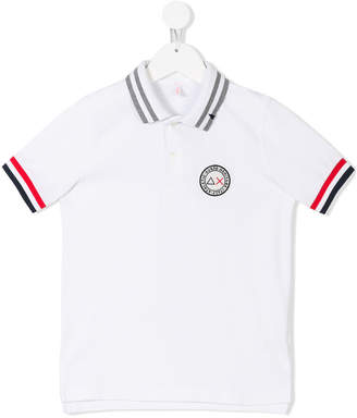 Sun 68 logo patch polo shirt