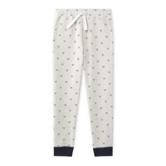 Beige/Midnight Print Cotton Fleece Pants