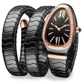 Bvlgari Serpenti Black Ceramic& 18K Rose Gold Double Twist Bracelet Watch