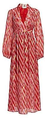 Figue Women's Starlight Ikat Silk-Blend Wrap Dress