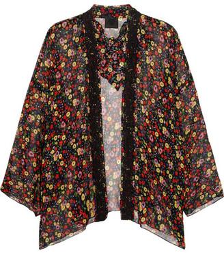 Anna Sui Floral-print Silk-crepon And Crocheted Lace Kimono - Black