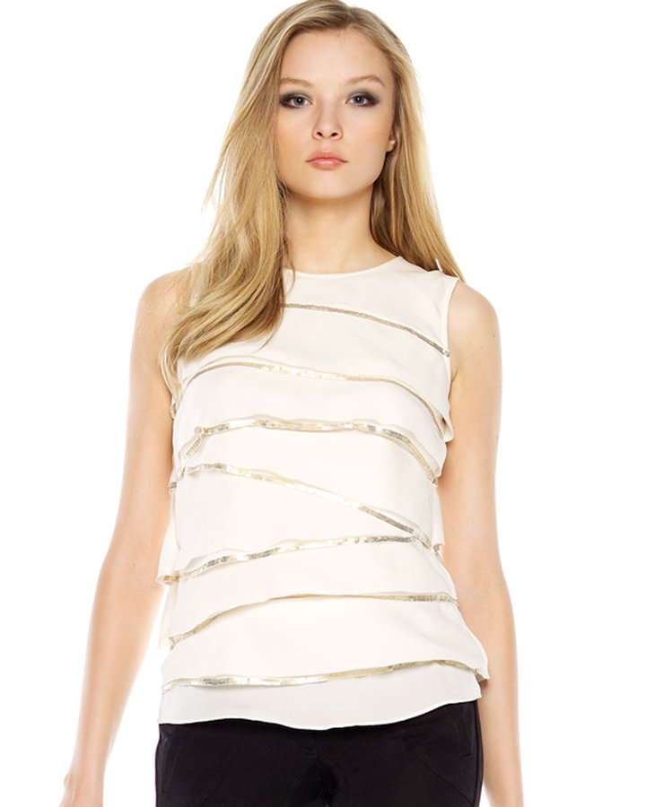 MICHAEL Michael Kors Sequin Layered-Ruffle Tank