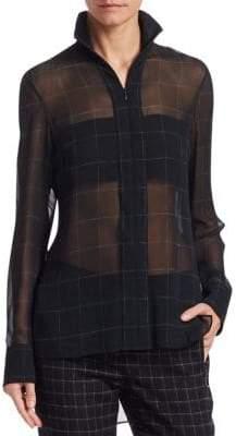 Akris Marble Tiles Silk Tunic Blouse