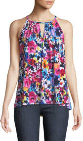 High-Neck Floral Draped Tank