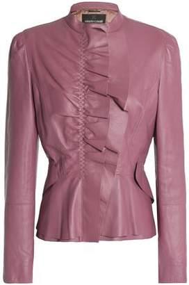 Roberto Cavalli Ruffle-Trimmed Leather Jacket
