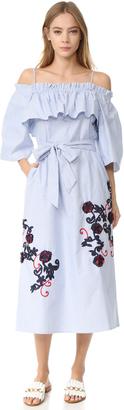 SUNO Off Shoulder Flare Dress $495 thestylecure.com