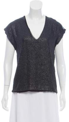 Zadig & Voltaire Leather-Trimmed Textured Top