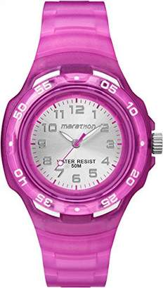 Timex Children's Quartz Watch with Silver Dial Analogue Display and Purple Resin Strap TW5M06600
