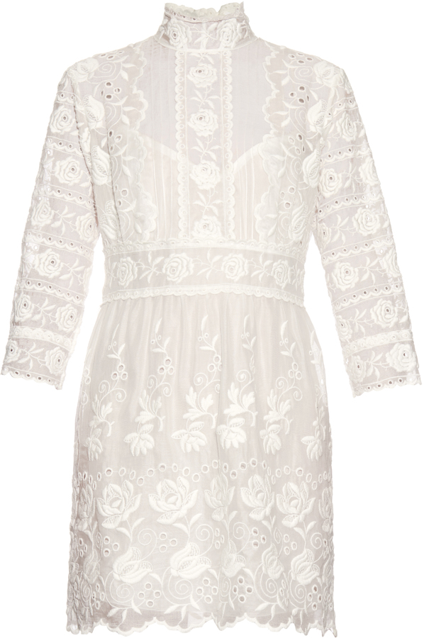 Marc JacobsMARC JACOBS High-neck embroidered silk broderie-anglaise dress