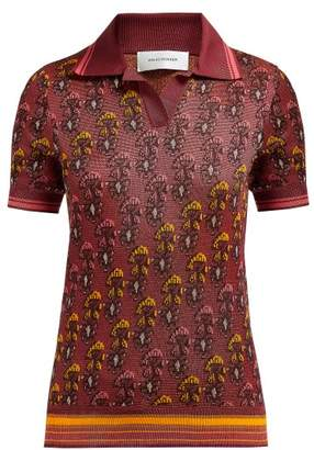 Wales Bonner Floral Jacquard Cotton Blend Polo Shirt - Womens - Red Multi