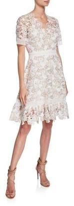 Shoshanna Toscana V-Neck Short-Sleeve Floral-Lace Dress