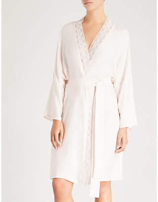 Hanro Liane lace-trimmed satin kimono robe