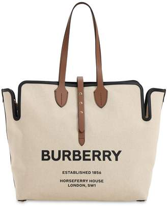 Burberry Large Logo Print Canvas Tote Bag