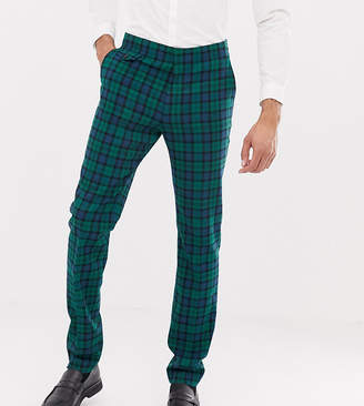 Asos DESIGN Tall wedding skinny suit pants in blackwatch plaid