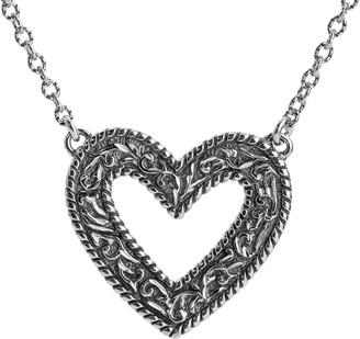 American West Sterling Diamond-Cut Scroll HeartNecklace