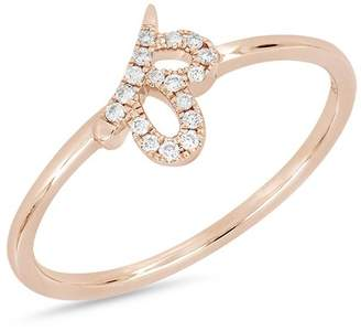 Bony Levy 18K Rose Gold Diamond Detail Cutout Ring - 0.06 ctw