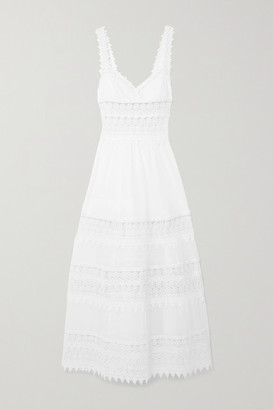 Charo Ruiz Ibiza Sophia Crocheted Lace-paneled Cotton-blend Voile Maxi Dress - White