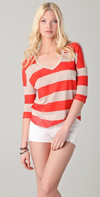Splendid Almond Stripe Top