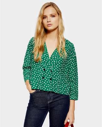 PETITE Polka Dot Button Pyjama Shirt