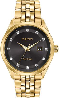 Citizen Men Eco-Drive Corso Diamond-Accent Gold-Tone Stainless Steel Bracelet Watch 41mm