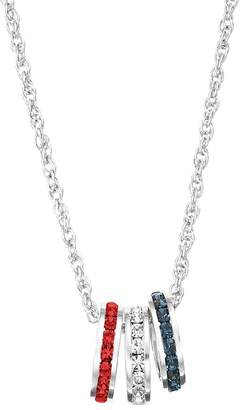 Swarovski Traditions Red, White & Blue Crystal Sterling Silver Rondelle Charm Necklace