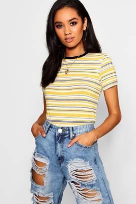 boohoo Petite Contrast Binding Stripe T-Shirt