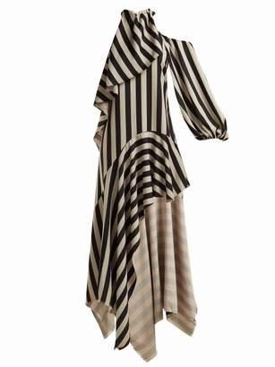 Marques Almeida Marques'almeida - Asymmetric Striped Satin Dress - Womens - Black White