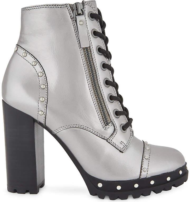 ALDO Isidro metallic leather heeled biker boots