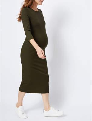 bff0106a47 George Maternity Khaki Ribbed Bodycon Midi Dress