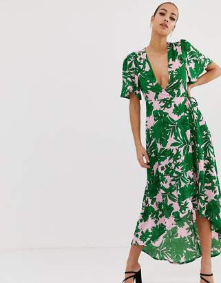 Missguided plunge wrap front midi dress in green tropical palm print