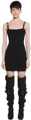 Rib Knit Dress W/ Faux Leather Straps