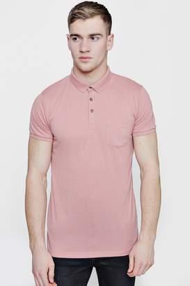 boohoo Chest Pocket Short Sleeve Jersey Polo