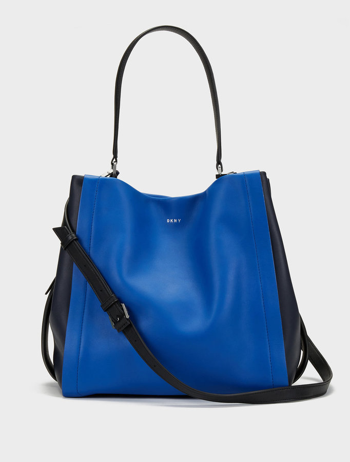 DKNY Medium Greenwich Smooth Calf Leather Colorblock Shoulder Bag