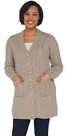 Aran Craft Merino Wool Long Boyfriend ButtonFront Cardigan