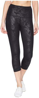 Lorna Jane Black Luxe Palm 7/8 Tights Women's Casual Pants