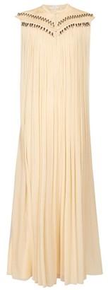 Chloé Beaded Silk Georgette Gown - Womens - Beige Multi