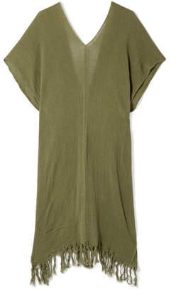 Caravana - Itzanami Fringed Cotton-gauze Midi Dress - Army green