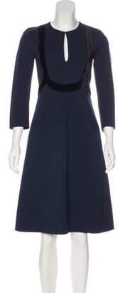 Schumacher Dorothee Velvet-Trimmed Midi Dress