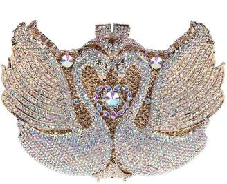 Santimon Women Clutch 3D Swan Rhinestone Crystal Evening Clutch Purses Bags with Removable Strap