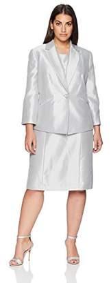 Le Suit Women's Size Plus Shiny 1 Button Notch Collar Jacket Dress