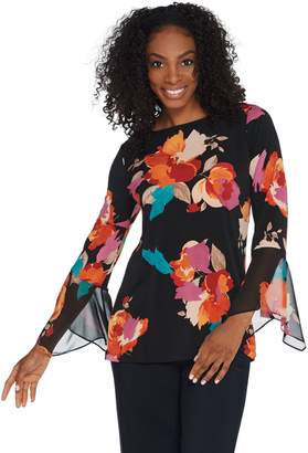 Susan Graver Printed Liquid Knit Top with Chiffon Bell Sleeves