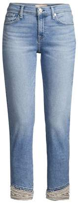 7 For All Mankind Mid-Rise Pearl Hem Skinny Jeans
