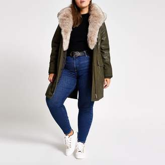 River Island Womens Plus Khaki faux fur trim parka