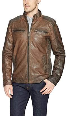 X-Ray Men's Slim Fit Washed Faux Leather Moto Jacket