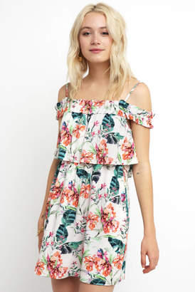 Sanctuary Cold Shoulder Floral Tiered Mini Dress