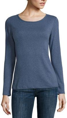 LIZ CLAIBORNE Liz Claiborne Long-Sleeve Cotton Tee $8.99 thestylecure.com