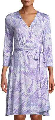 NYDJ 3/4-Sleeve Abstract-Print Wrap Dress