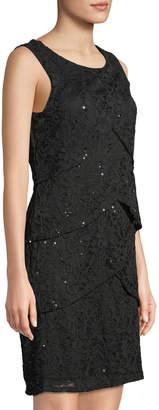 Neiman Marcus Sleeveless Tiered Lace Dress