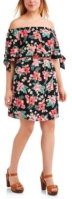 Paper Tee Junior's Plus Off Shoulder Sun Dress with Faux Leather Belt