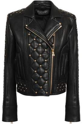 Balmain Studded Quilted Leather Biker Jacket